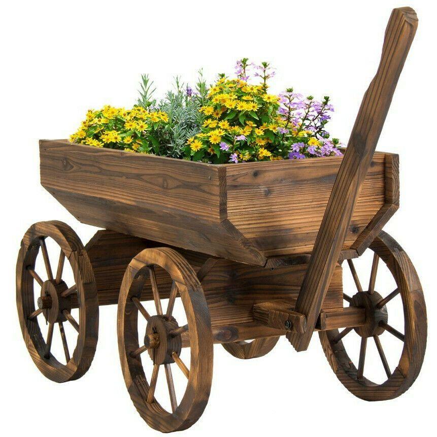Outdoor Flower Planter Decorative Wood Wagon Cart On Wheels Container Pot Flowerplanter Artesanato Em Madeira De Paletes Carrinho De Mao Carrinho De Madeira