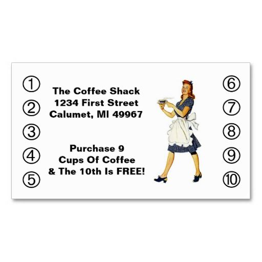 Retro Business Punch Cards Diner Happy Waitress Zazzle Com Retro Business Card Printing Business Cards Punch Cards