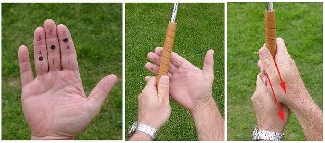 Photo Guide To Playing Your Trailing Lower Hand On The Golf Grip Golf Grip Golf Club Grips Golf Tips