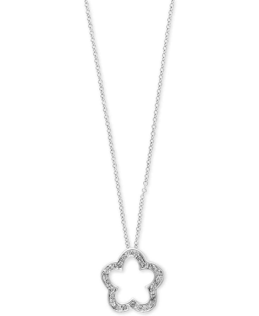Pave Classica by Effy Diamond Flower Pendant Necklace (1/10 ct. t.w.) in 14k White Gold