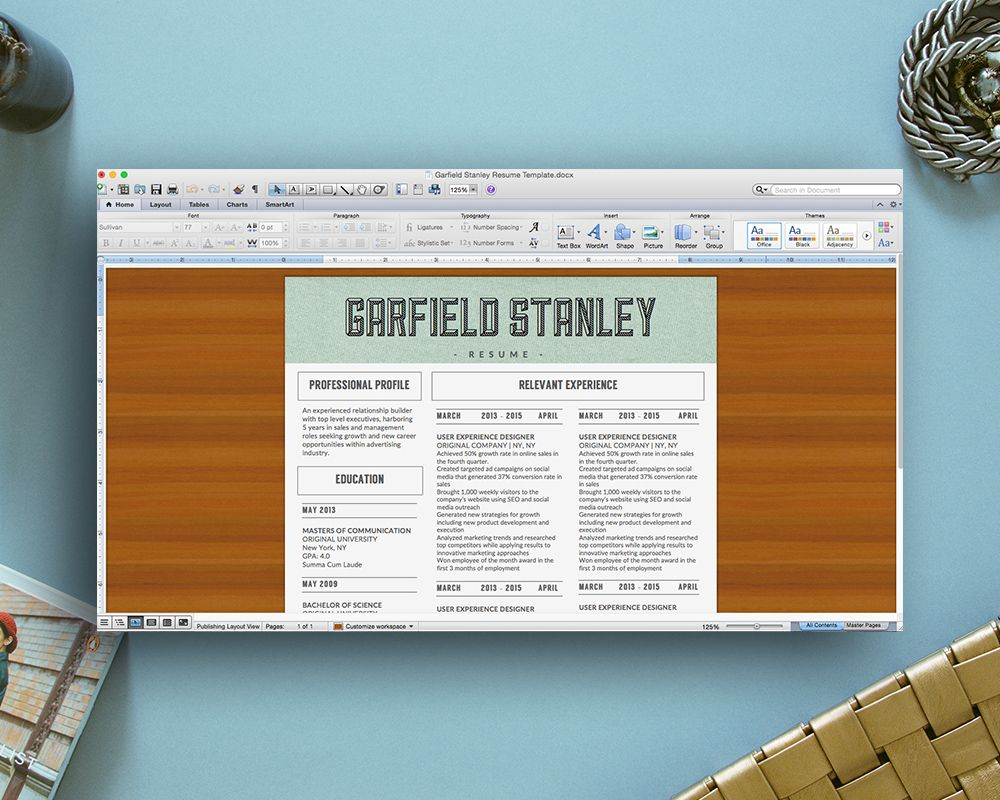 Garfield Stanley Resume Template for Microsoft Word