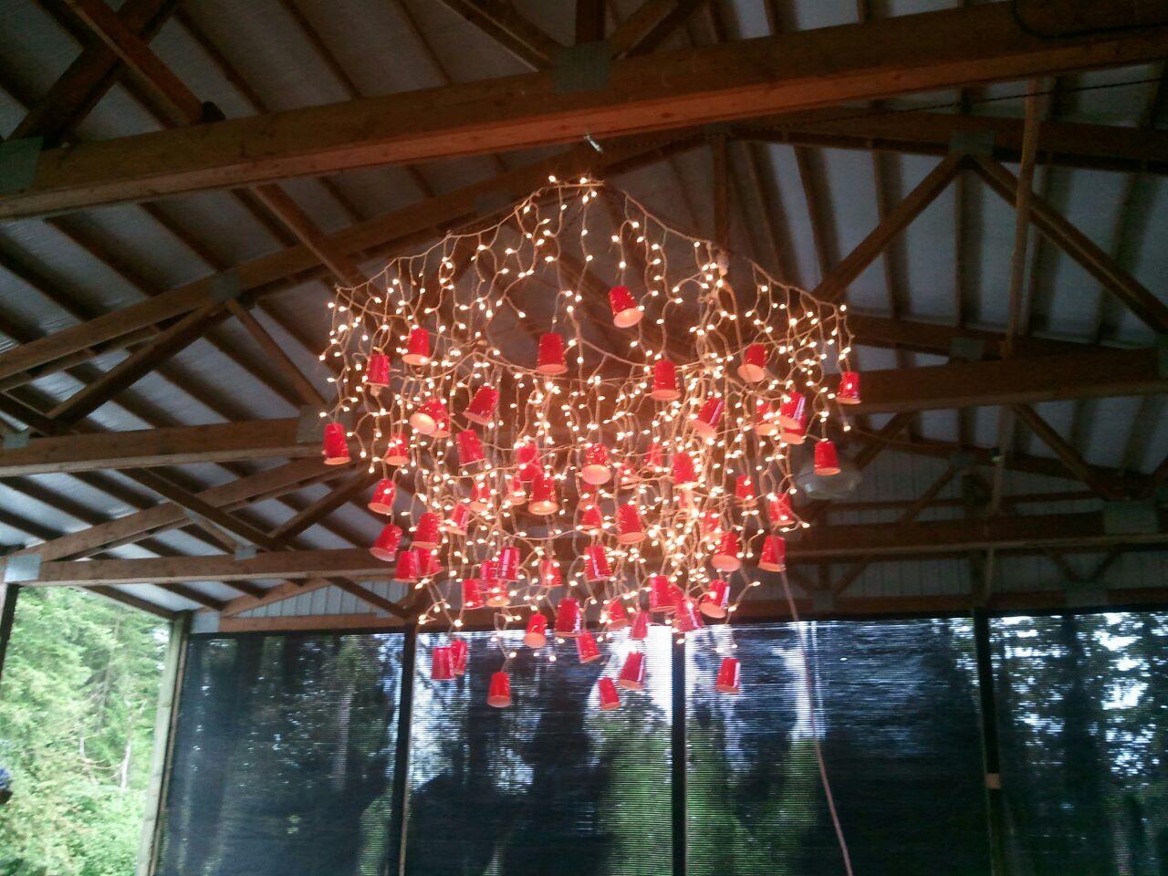 solo cup diy light fixture   Outdoor parties   Pinterest ...