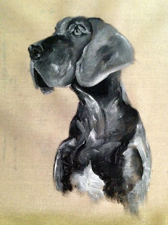 Dog Painting Gray Great Dane Painted Pillow Decoration Dog