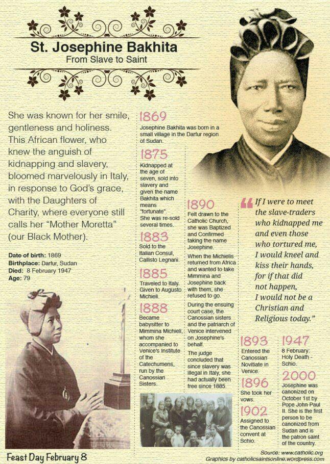 ~St. Josephine Bakhita~ From Slave to Saint - Feast Day: Feb 8