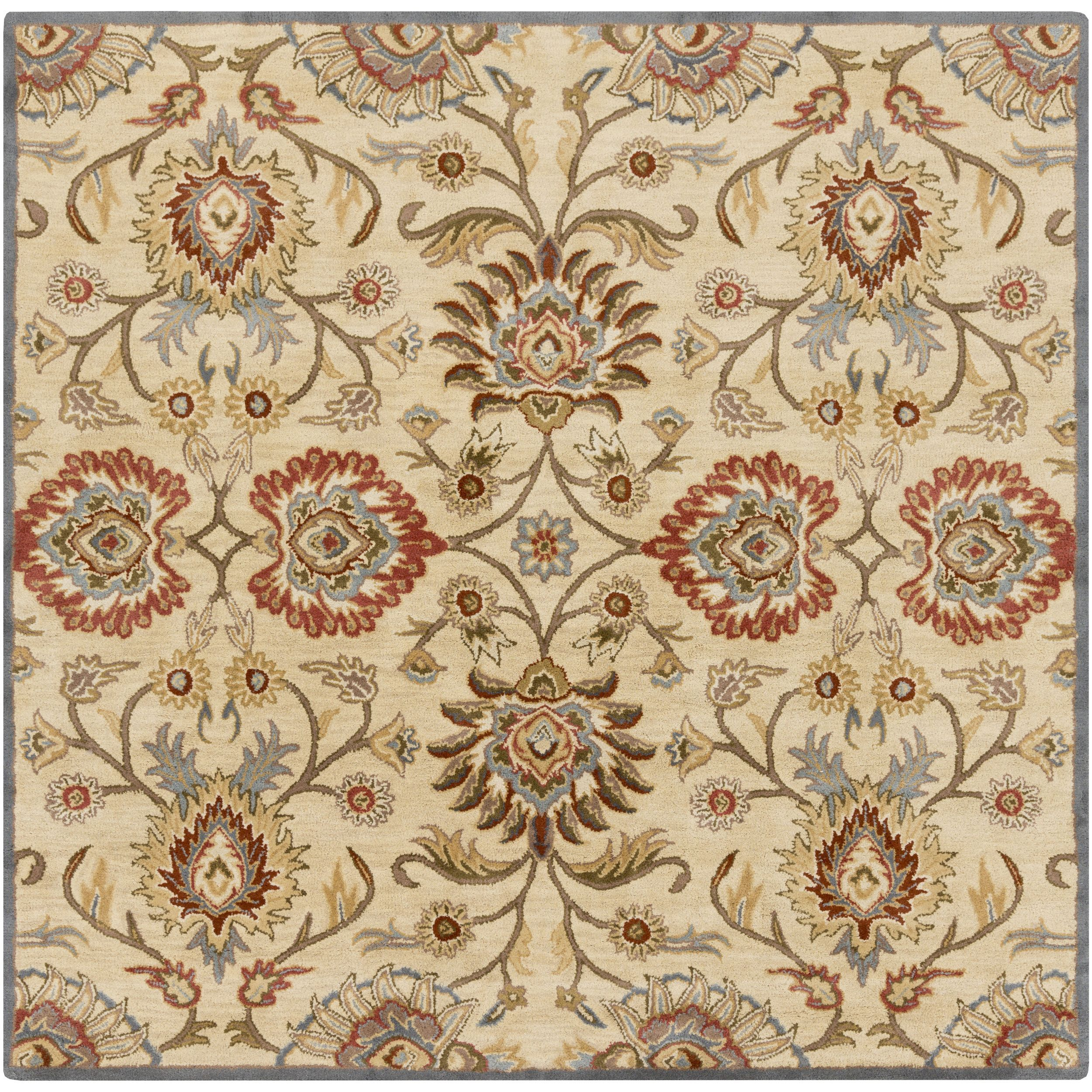 Hand Tufted Noah Traditional Wool Rug 9 9 Square Blue 9 9 Square