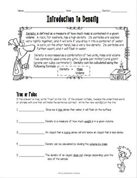 Introduction To Density Worksheet Adventures In Science Tpt Store Introduction To Cells Worksheet This Introduction To Density Worksheet Was Designed For Middle School Students Just Learning About Density This Double Sided Worksheet Features A Helpful