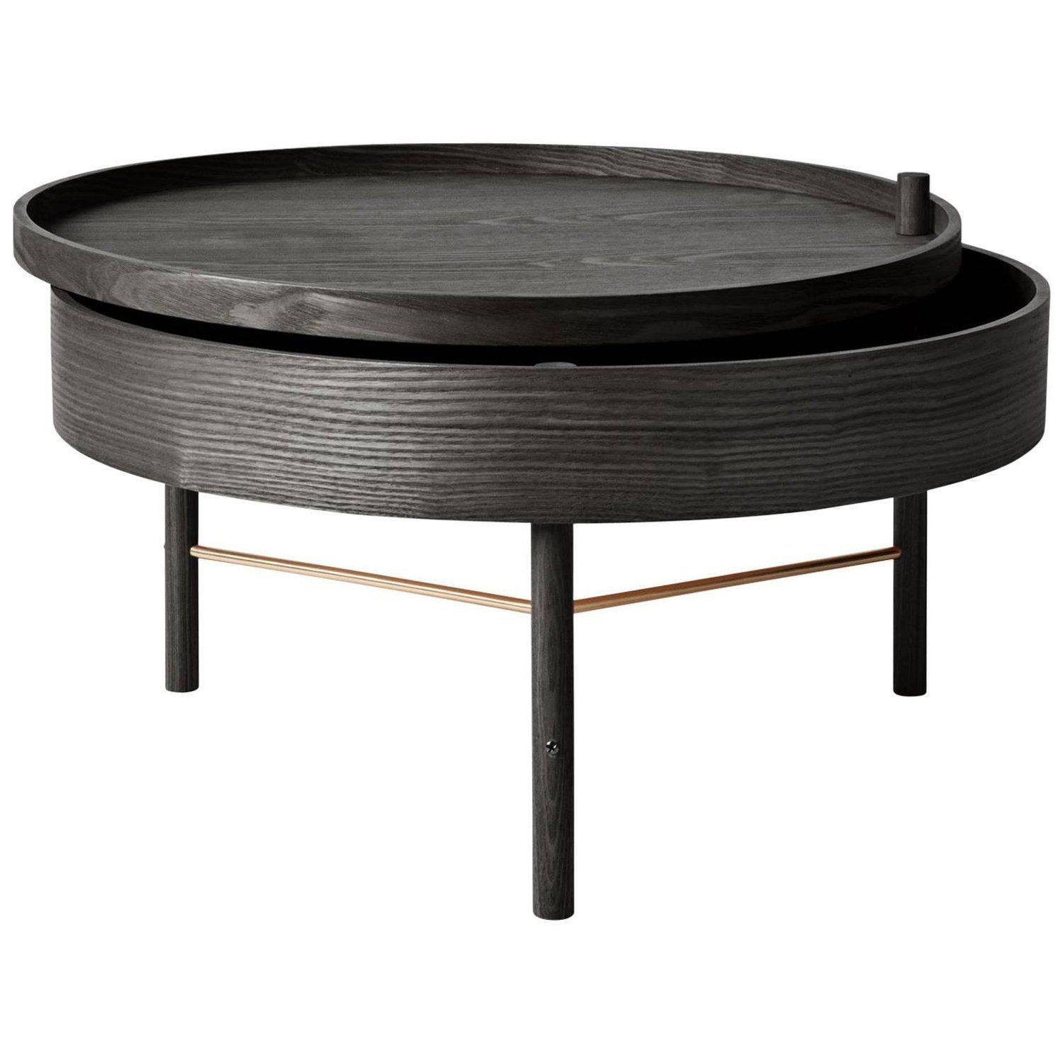 Turning Table By Theresa Arns Coffee Table With Storage In Dark Oak And Brass Menu Furniture Affordable Living Room Furniture Coffee Table With Storage