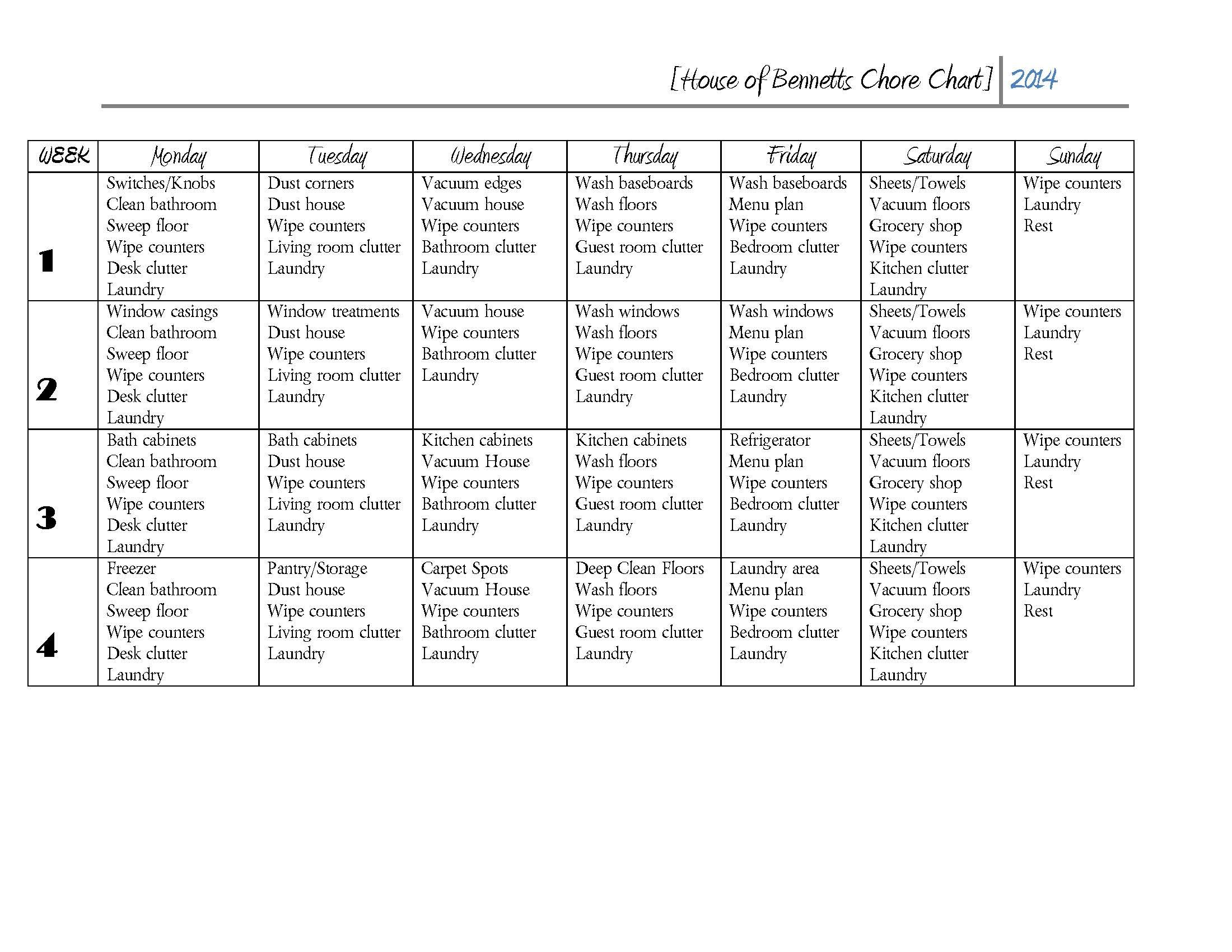 household chores roster