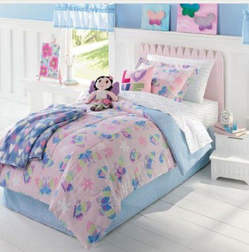 butterfly and flowers pink and blue twin comforter set 5 piece bed in a bag home kitchen. Black Bedroom Furniture Sets. Home Design Ideas