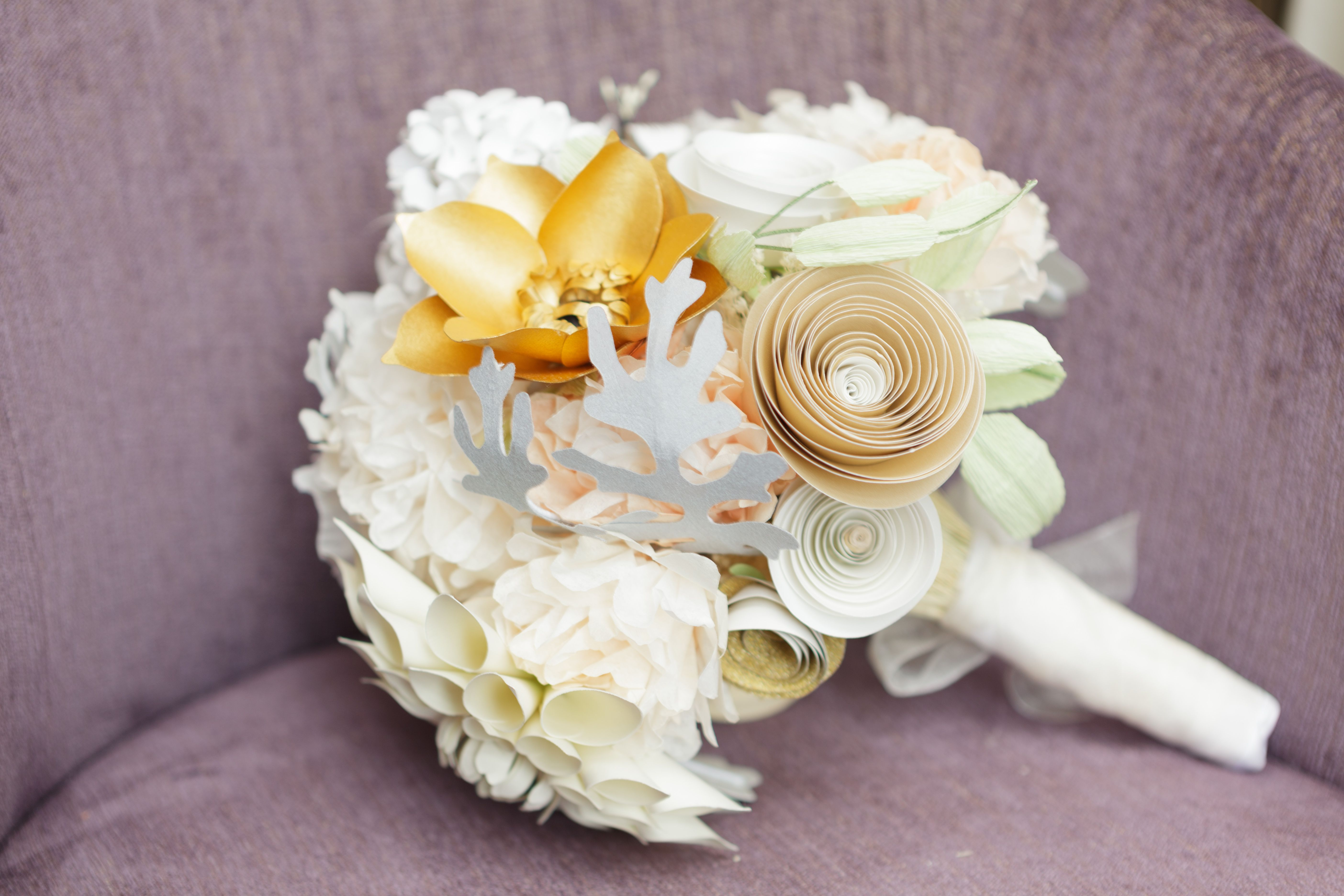 Paper flower bridal bouquet with 24k gold leaf flower by paper paper flower bridal bouquet with 24k gold leaf flower by paper portrayals paperportrayals izmirmasajfo