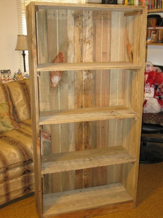 Reclaimed wood bookshelves pallet bookcase by for Reclaimed wood bookshelf diy