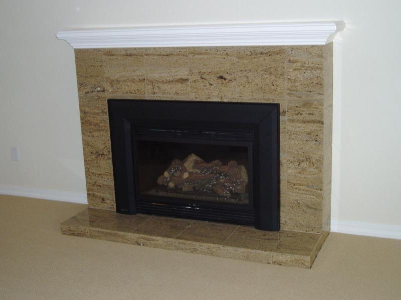 Tile Fireplace Designs | Granite Tile Fireplace Surround Laid To Look Like  Granite Slab.