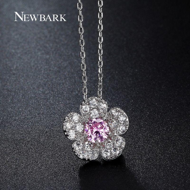 327057d8bdc Cute Necklaces & Pendants Pink Centre CZ Stone Sakura Flower Chain Choker