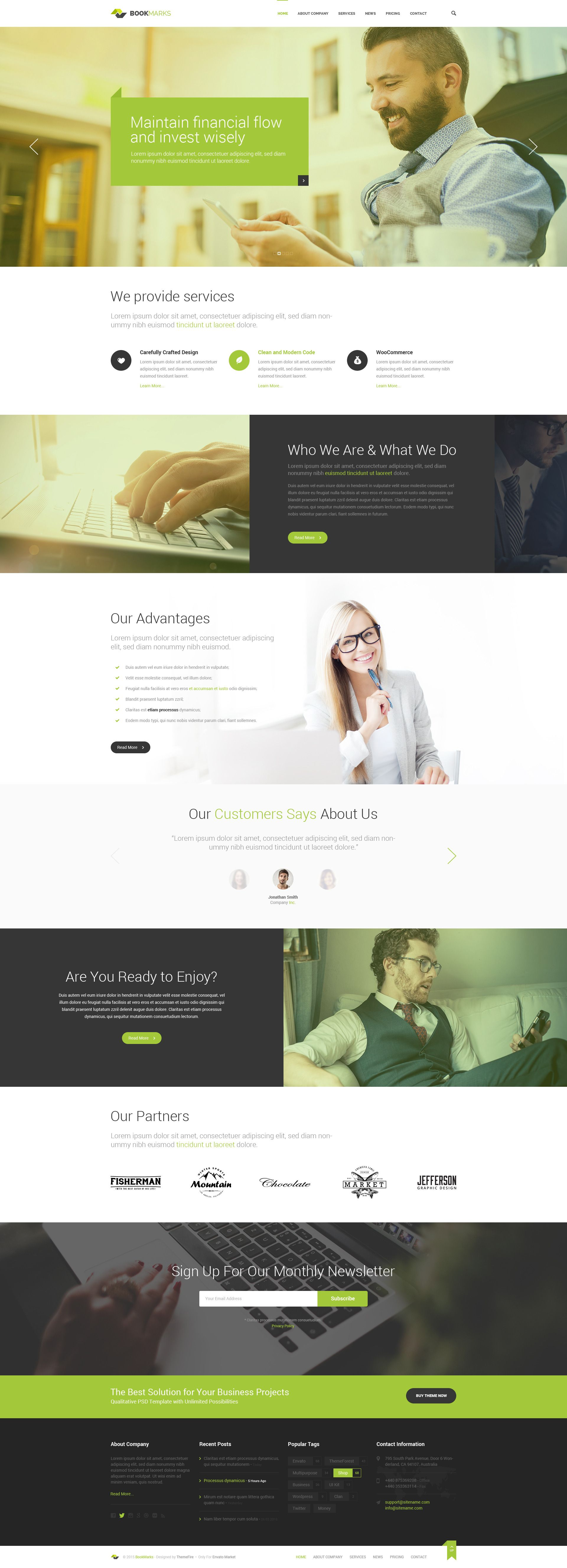 BookMarks - Corporate & OnePage PSD Template | Diseño web ...