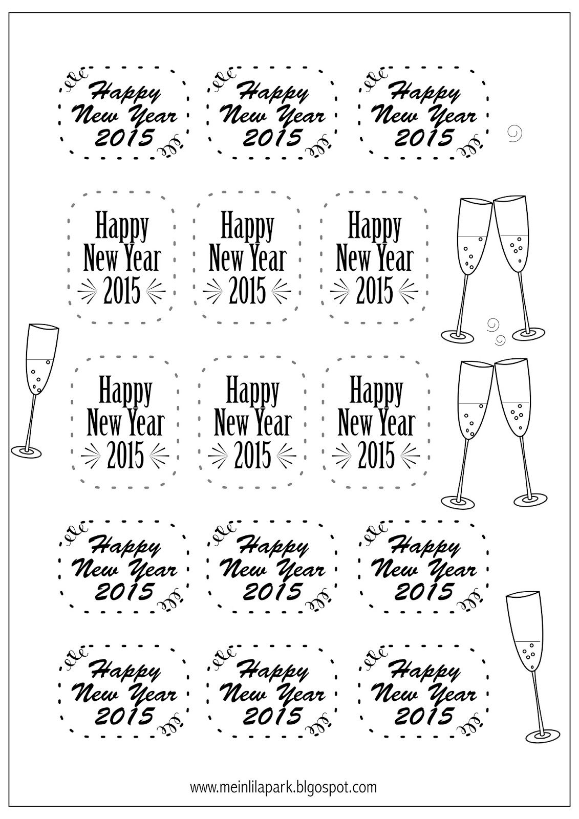 picture regarding Printable New Year Cards referred to as No cost printable Clean Many years Eve tags - Silvester 2015