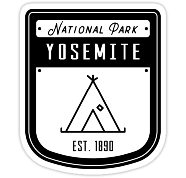 'Yosemite National Park California Badge' Sticker by