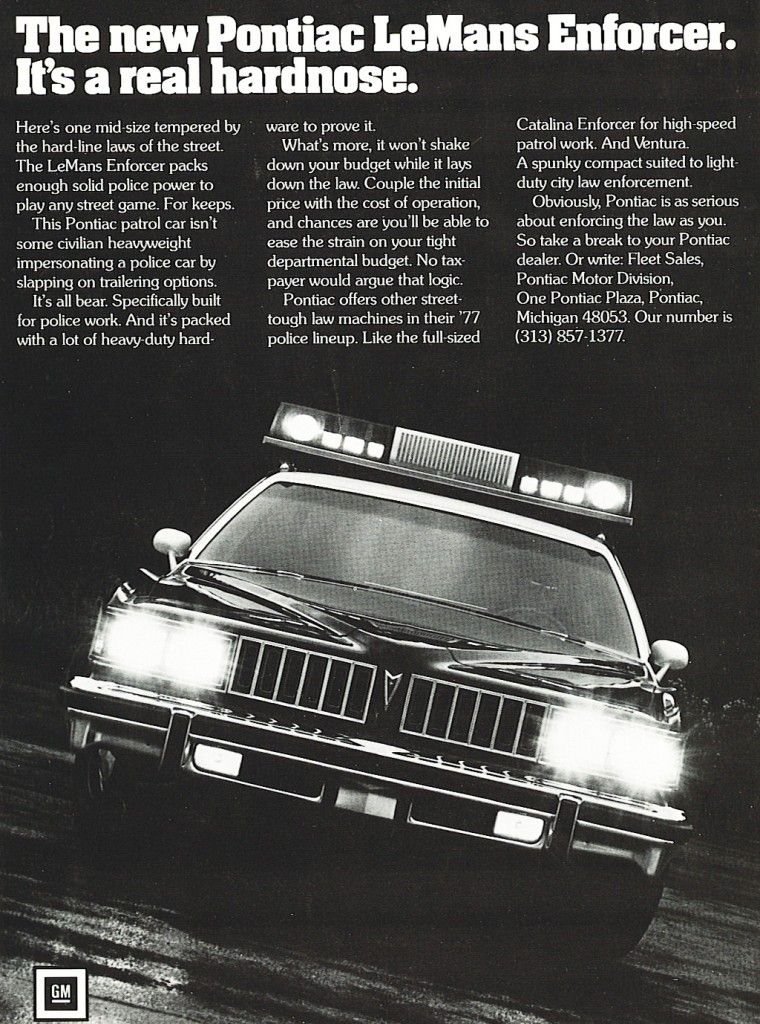 """1977 Police car - """"The new Pontiac LeMans Enforcer is a real ..."""
