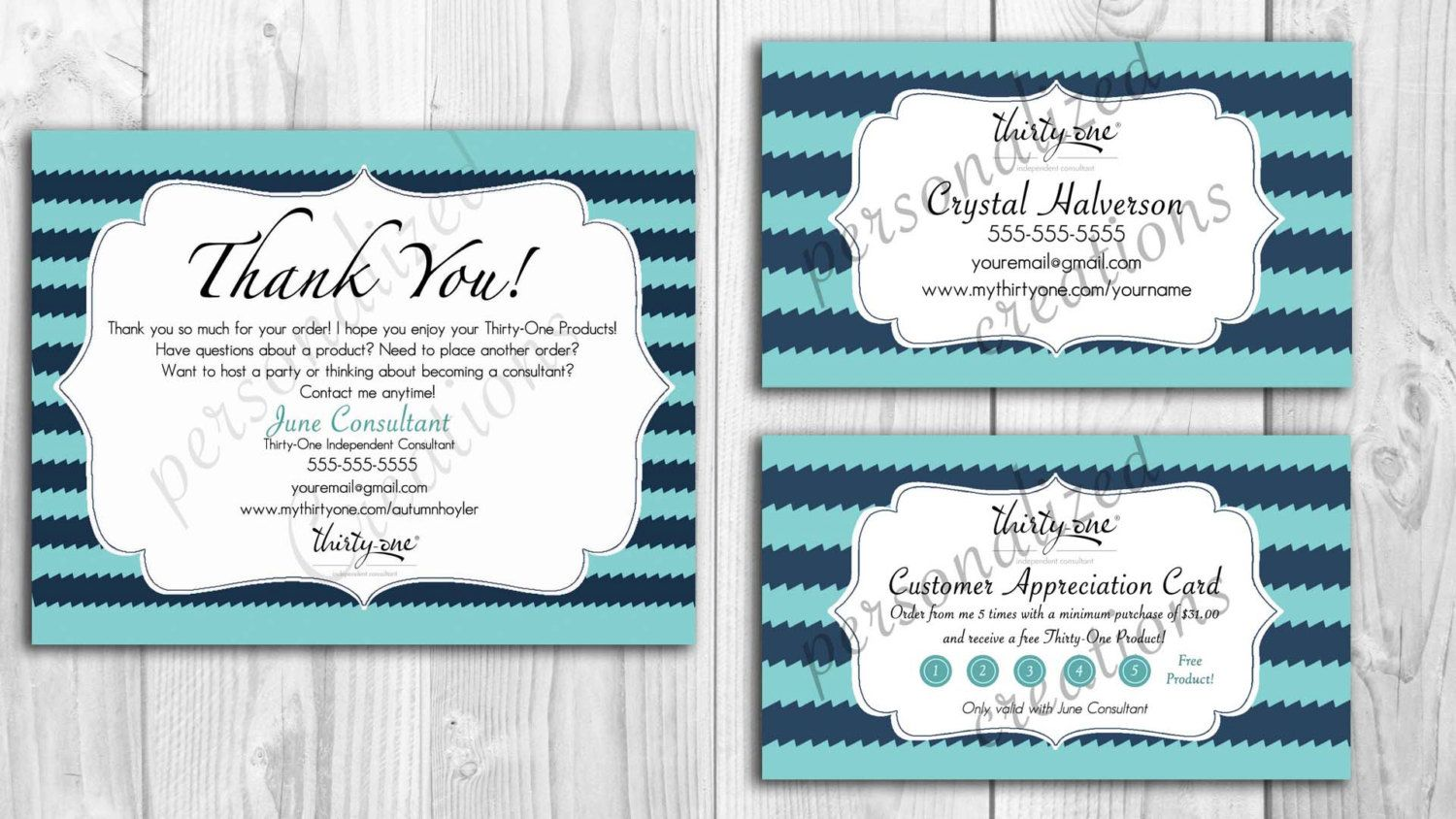 Personalized business cards and customer cards made for thirty one personalized business cards and customer cards made for thirty one gifts deep sea wave magicingreecefo Image collections