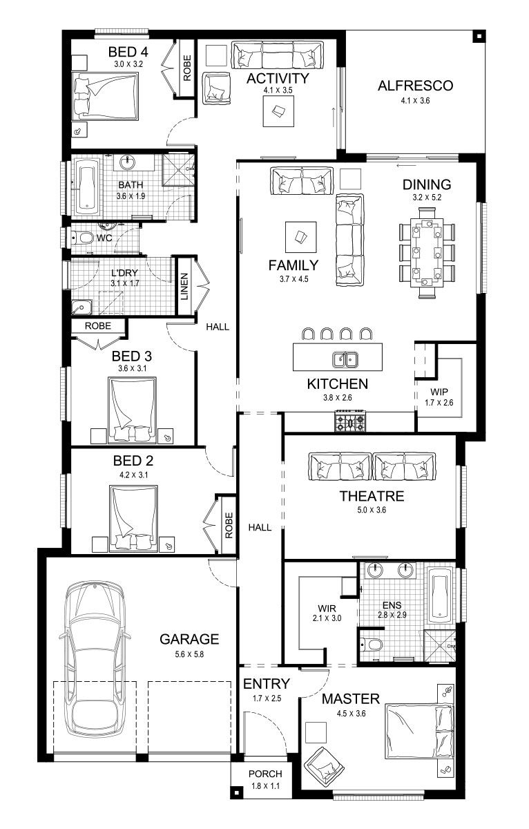 Crystal single level floorplan by kurmond homes new home builders sydney nsw also rh pinterest