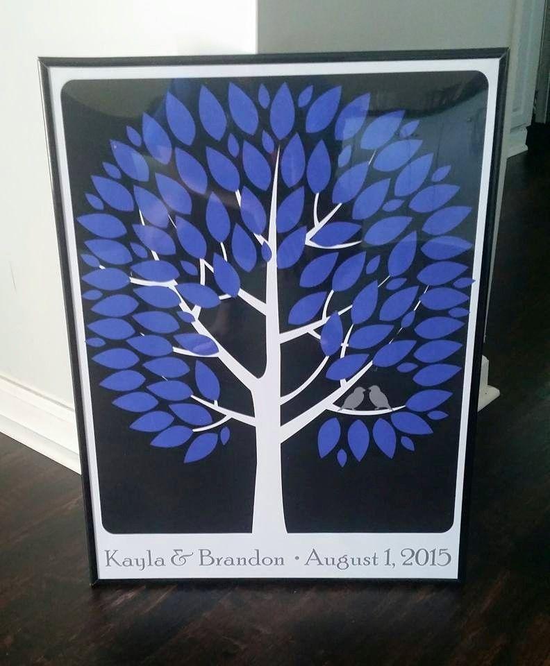 Modwik Wedding Tree   Guest Book Alternative   Modern Wedding   Customer Photo   Wedding Colors - Blue, Black, Gray   peachwik.com