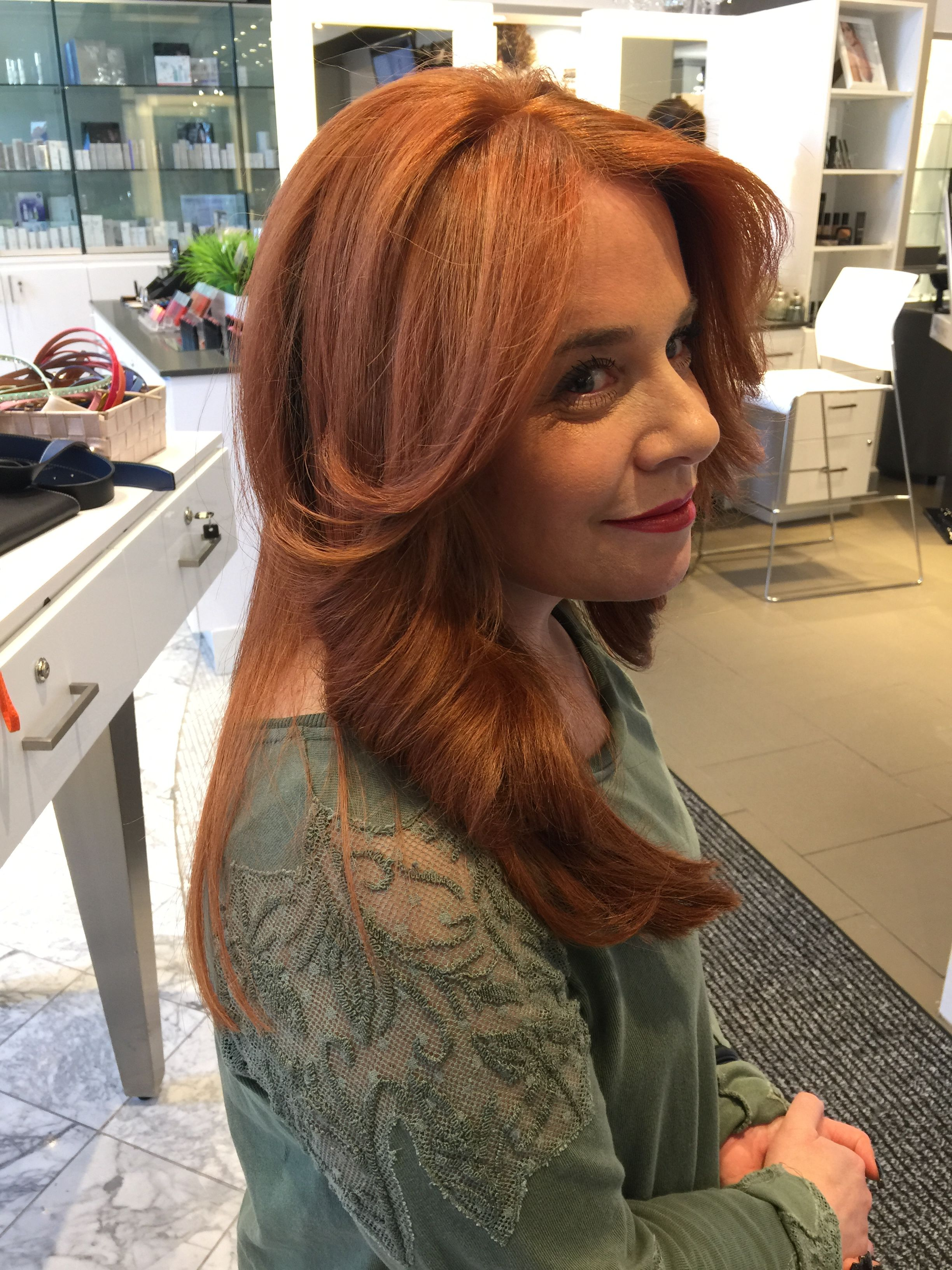 Who says blondes have more fun? Not this beauty. Color by Vivian and Haircut & Style by Joseph.  #deauville #spa #coiffure #montreal #stylists #hairsalon #beauty #colortechnician #red #copper #highlights #streaks #lowlights #ombre #curls #waves