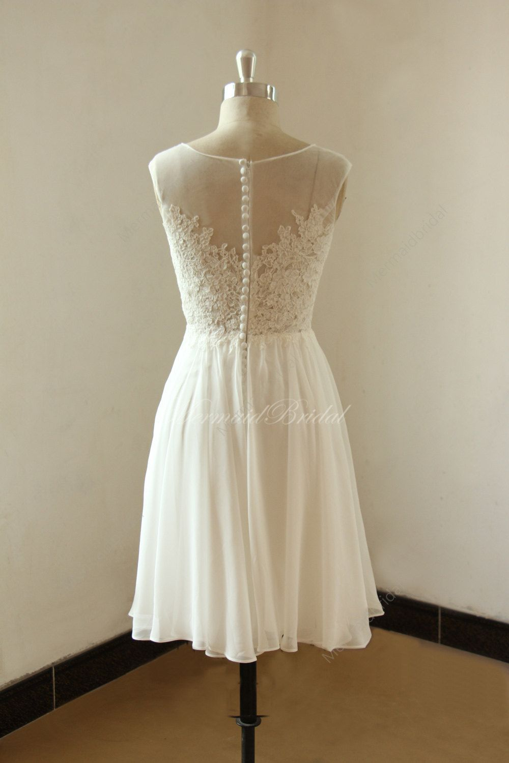Ivory short knee length lace chiffon wedding dress with illusion