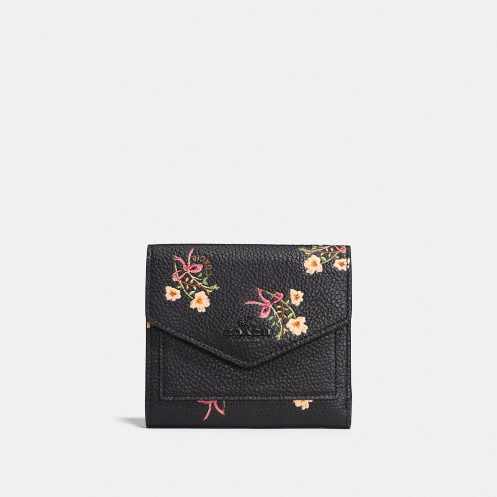 Coach Small Wallet With Floral Bow Print Black Black Copper