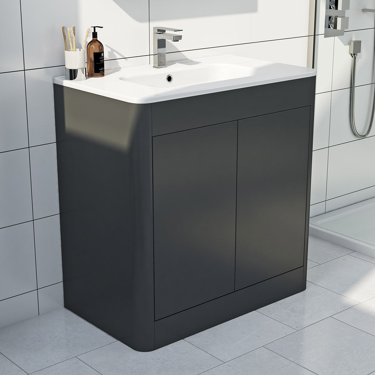 Great Mode Carter Pebble Grey Floor Mounted Vanity Unit And Basin 800mm