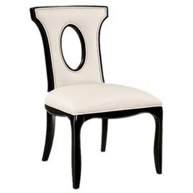 """Hardwood side chair in ebony with almond bonded leather upholstery.    Product: Chair    Construction Material: Wood and bonded leather    Color: Ebony and almond    Dimensions: 38.25"""" H x 22"""" W x 26.25"""" D"""