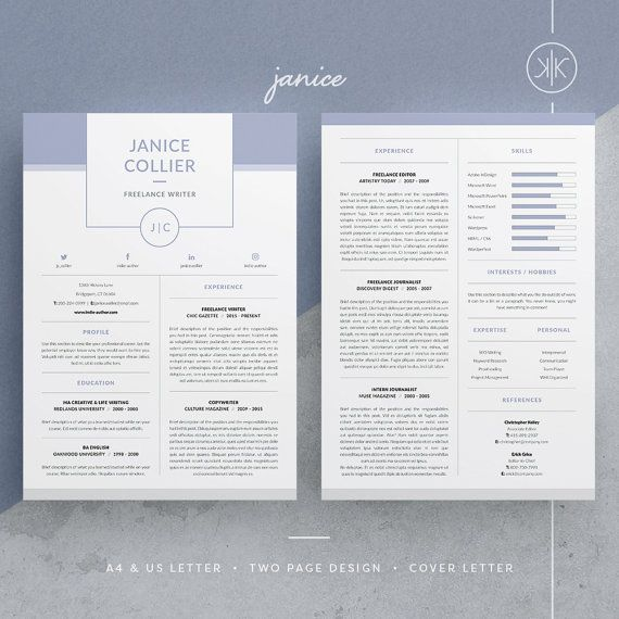 Janice ResumeCv Template Word Photoshop By Kekeresumeboutique