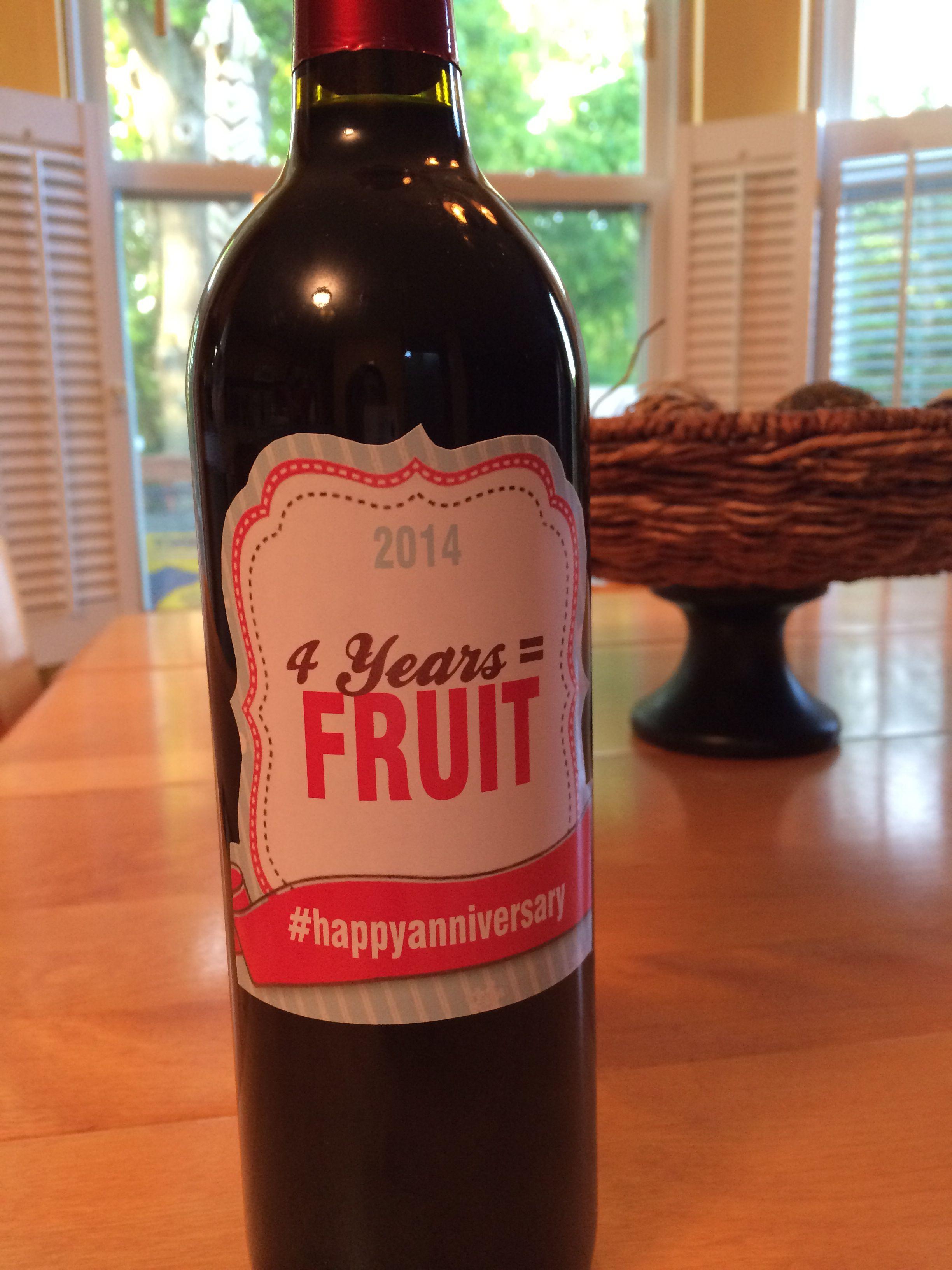 4th year anniversary gift wine (fruit) Boda