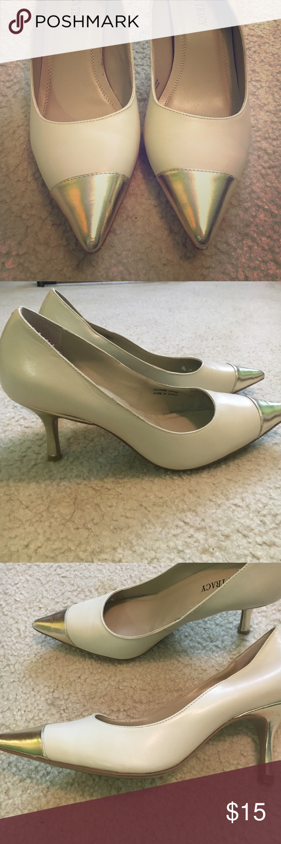 Gold-tipped pumps, size 7.5 Ellen Tracy pumps, cream with a metallic gold detail at the tips. Heels are about 3 inches. Purchased at TJ Maxx. Only worn a handful of times! Ellen Tracy Shoes Heels