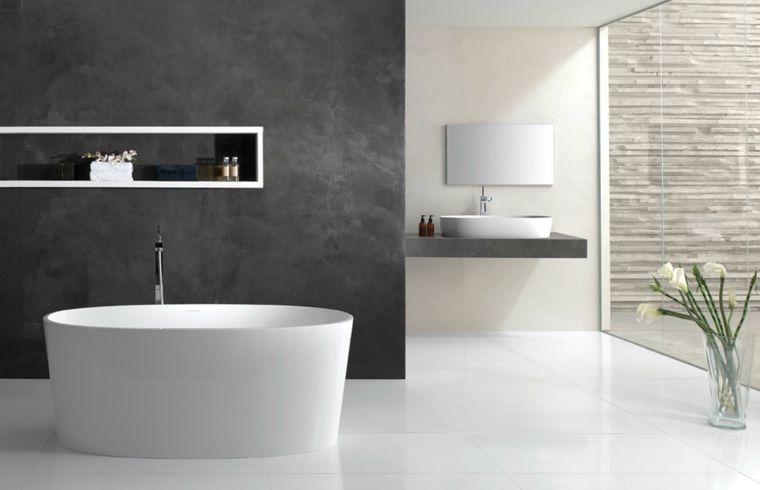 Cuartos de baño de estilo minimalista - 50 diseños oscuros - paredes de cemento