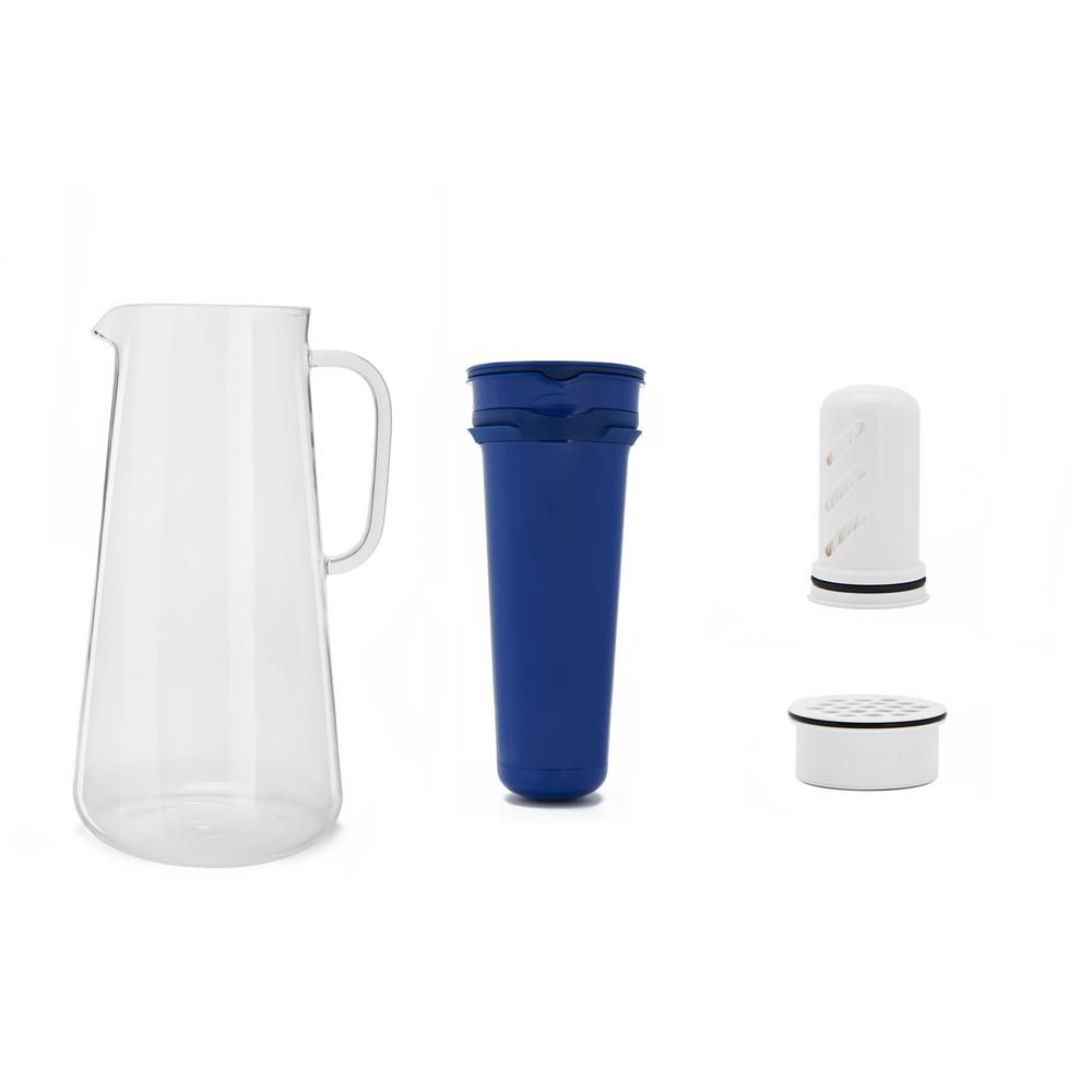 Lifestraw Home 7 Cup Glass Water Filter Pitcher In Cobalt