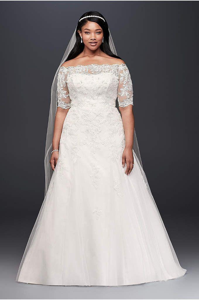 Plus Size Long Sleeve Wedding Dress With Low Back - Davids Bridal ...