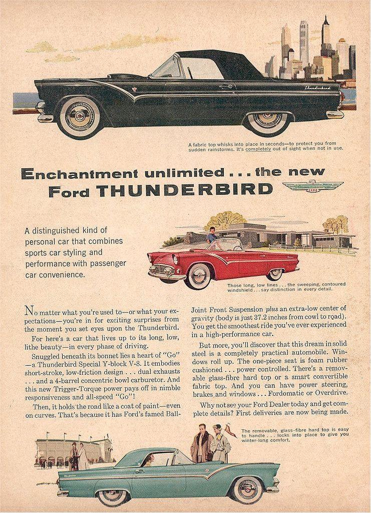 1955 Ford Thunderbird Ad Usa Old Ads Vintage Ads Vintage Cars