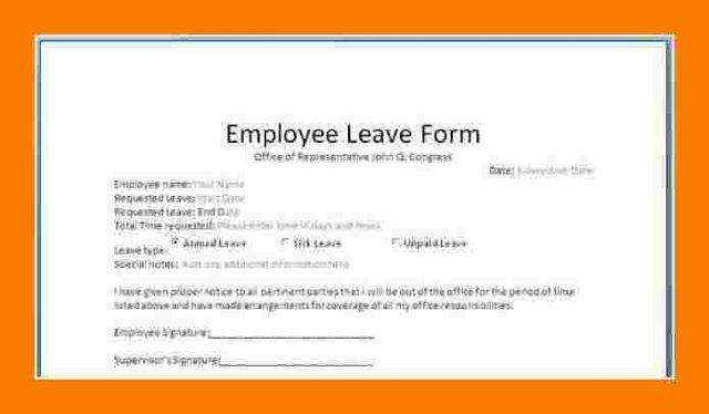 Staff Leave Application Form Format Employee Template Work Request