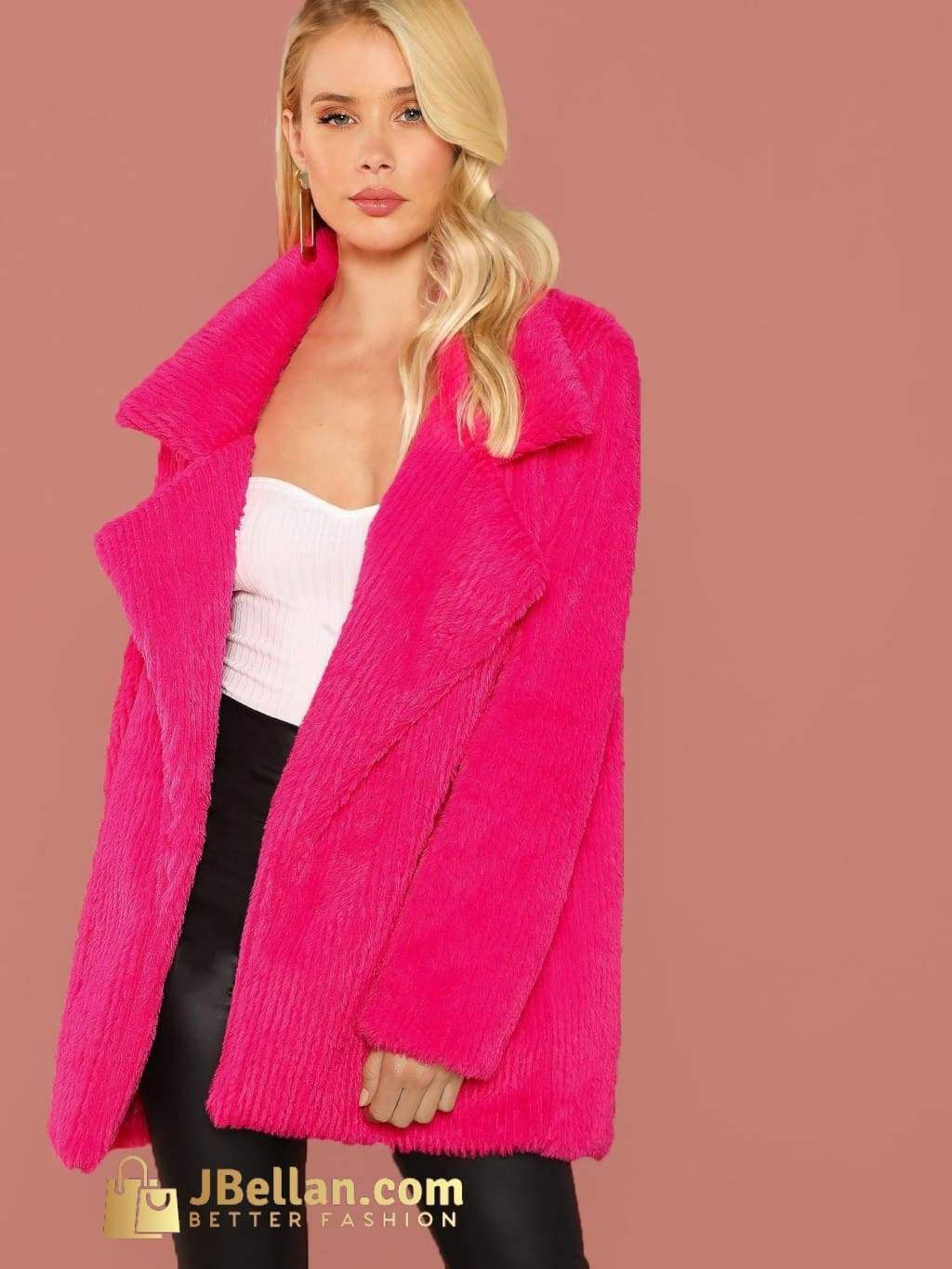 28aec31797f Jbellan Notch Collar Faux Fur Coat in 2019 | Products | Faux fur ...