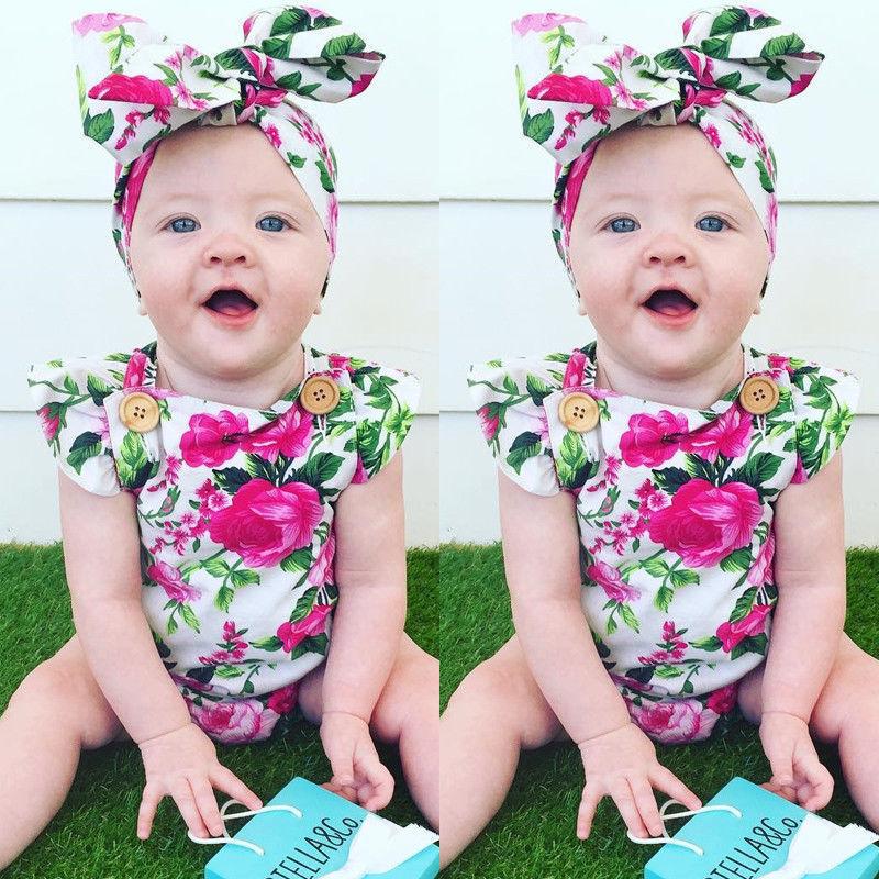 8f59f08b78a Niño encantador Infante Recién Nacido Baby Girl Ropa Del Mono Floral  Impreso Mono Headband Trajes Ropa Sunsuit 2 unids