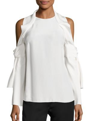 3.1 PHILLIP LIM Silk Cold Shoulder Top. #3.1philliplim #cloth #top