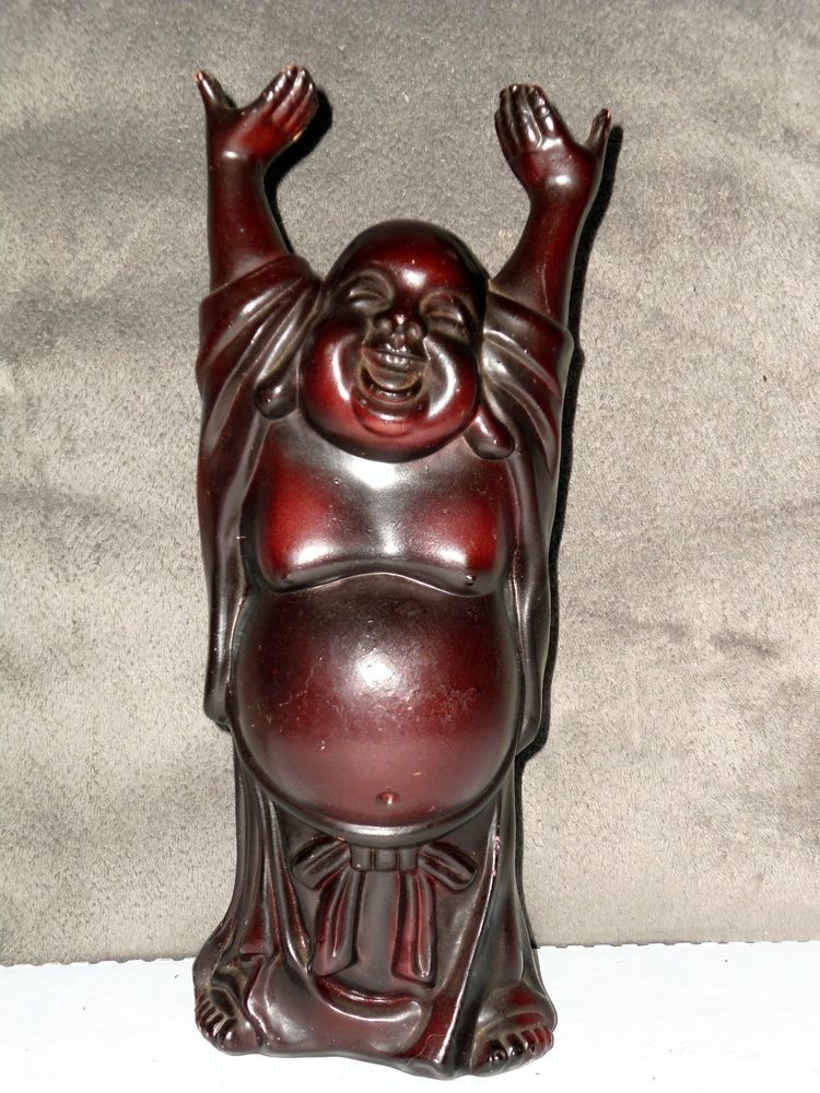 "VTG LAUGHING HAPPY FAT BUDDHA PROSPERITY LUCK WEALTH RED RESIN 8"" STATUE FIGURE"