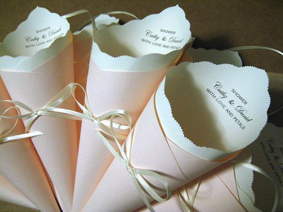 Wedding Tossfavor Cone With Custom Ribbon Colors Fonts For Petal