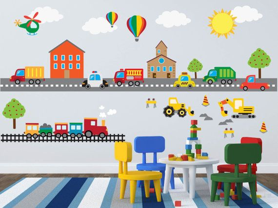Construction Transportation Truck Train Car Wall Decals Kids Etsy Kids Wall Decals Nursery Baby Room Wall Stickers Kids