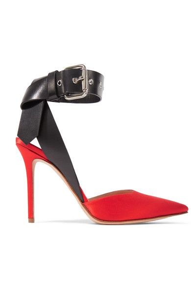 Monse Woman Leather-trimmed Satin Pumps Red Size 41 Monse