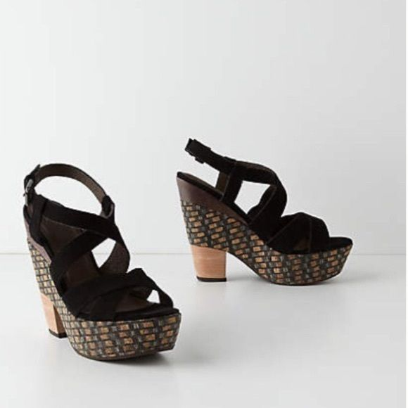 Anthropologie | holding horses | sandal wedges Unique chunky sandal wedges that are perfect for spring and summer! | easily dresses up or down | 5in heel | only worn once for a few hours | no visible scuffs | open to offers ❤️ Anthropologie Shoes Heels