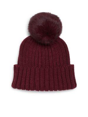 3f731488b04 ADRIENNE LANDAU Rib-Knit Rabbit Fur Pom-Pom Hat.  adriennelandau  hat