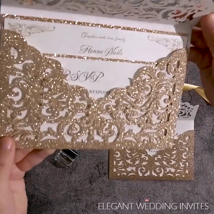 the grand invite rose gold glittery laser cut envelopment with classic invitation EWWS271 is part of Wedding invitations - the grand invite rose gold glittery laser cut envelopment with classic invitation EWWS271 as low as $3 19