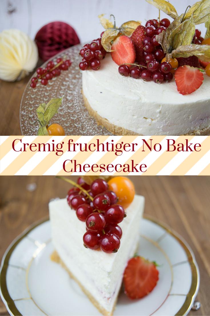 Cremiger No Bake Cheesecake mit knusprigen Amarettini Biskuit Boden aus dem Kühlschrank mit ganz viel frischen Früchten – perfekt für heiße Sommertage