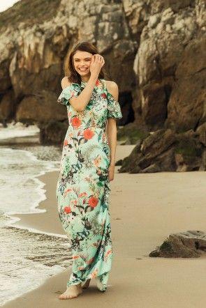 97d686ce2d vestido largo estampado flores con hombros descubiertos de volantes cenido  en la cintura para invitada de fiesta de noche o invitada de boda de tarde  ...