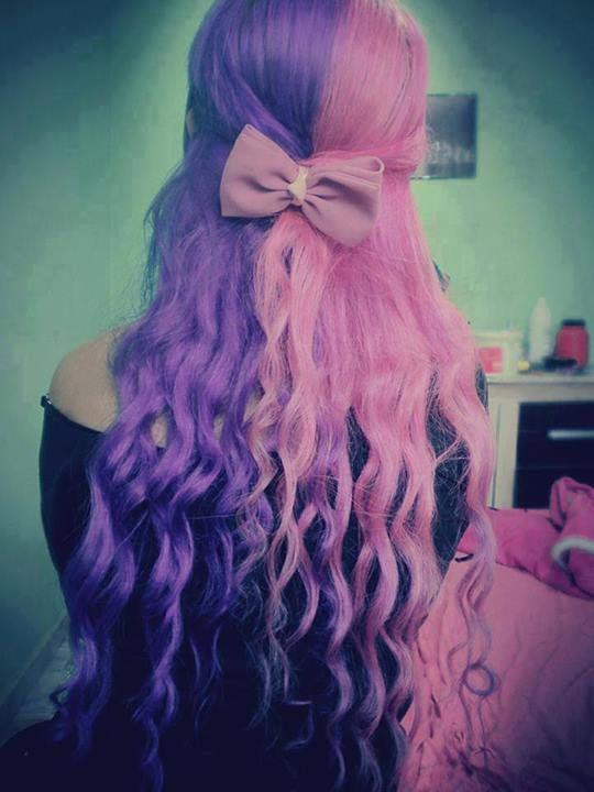 Pink And Purple Split Hair Hair Color Unique Hair Color For Black Hair Split Hair